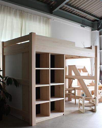 F B F オーダー家具|無垢テーブル|テレビボード|学習机|神戸・三木 収納付きロフトベッド 畳仕様